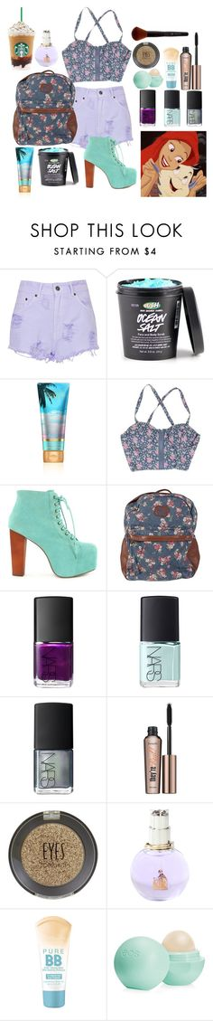 """""""Ariel"""" by glitter-and-mermaids ❤ liked on Polyvore featuring The Ragged Priest, Jeffrey Campbell, Billabong, NARS Cosmetics, Benefit, Topshop, Lanvin, Maybelline, Eos and disney"""