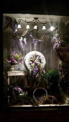 shop window displays Spring window display by Floral Charisma Downtown DeRidder la Florist Window Display, Spring Window Display, Store Window Displays, Retail Displays, Flower Shop Design, Decoration Vitrine, Store Windows, Window Design, Shops