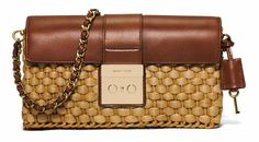 MICHAEL Michael Kors Brown Leather Straw Clutch Handbag Purse Shoulder Strap Bag #MichaelKors #Clutch