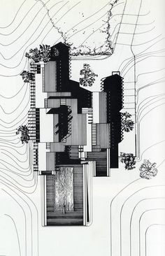 We could all probably learn a lot by studing the work of Paul Rudolph. Architecture Drawing Art, Architecture Graphics, Art And Architecture, Architecture Details, Architecture Diagrams, Architecture Portfolio, Paul Rudolph, Hotel Floor Plan, Site Plans
