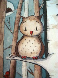 Owl picture by LidiaSteiner on Etsy - for aquarel use