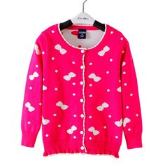 Kids Girls Cardigan Knitted Sweater 2016 New Arrival Baby Girls Candy Print Sweater Autumn Winter Clothing Red 3-7 Years GW36