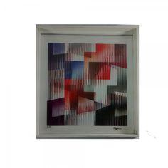 YACOV AGHAM - gravura holográfica assinada e numerada 82/99 med. 35 x 36 cm (39 x 38 cm emoldurada c