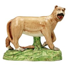 1stdibs.com | Antique English pottery figure of a standing lion Staffordshire c1820