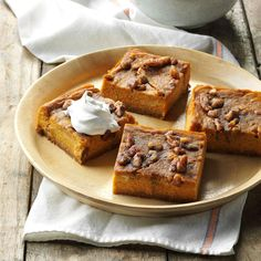 Pumpkin Pie Squares Recipe -The first time my husband and two daughters tried this dessert, they thought it was delicious. It has all of the spicy pumpkin goodness of the traditional pie without the fuss of a pastry crust. —Denise Goedeken, Platte Center, Nebraska