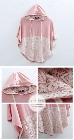 DIY pattern for a hoodie sweater poncho thingie. Diy Clothing, Sewing Clothes, Clothing Patterns, Sewing Patterns, Clothes Refashion, Diy Kleidung, Diy Vetement, Diy Mode, Diy Couture