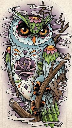 Great idea for my sleeve. Not really that type for the owl but the idea of the background and branches.