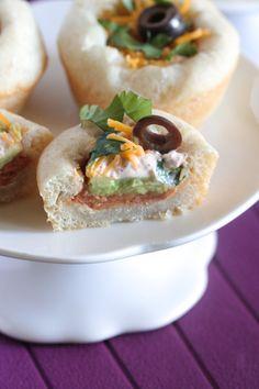 Mini 7 Layer Bean Dip Bowls - These are so cute!
