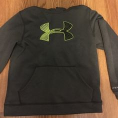 under armour hoodie! grey, black, and neon green/yellow(ish) hoodie. worn 5 times and in great condition! willing to trade and negotiate offers (: Under Armour Jackets & Coats