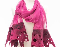 Long burgundy, Nuno felt silk scarf, Nuno felted silk scarf, scarf, silk scarf, silk chiffon, merino wool