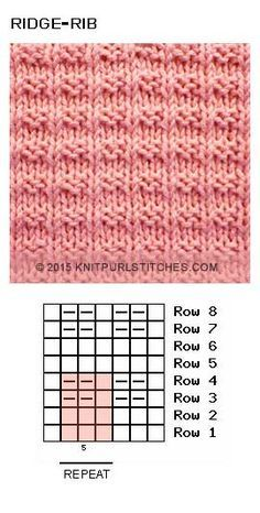 Ridge Rib stitch (pattern-2). Free knit and purl chart