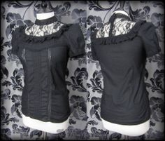 Gothic Victorian Black Rose Lace High Collar Ruffle Top 8 Steampunk Romantic | THE WILTED ROSE GARDEN on eBay // Worldwide Shipping Available