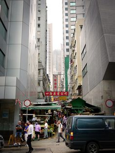 market between a gap, Graham Street, one of the oldest markets in Victoria City, Hong Kong
