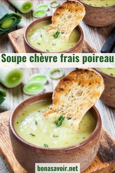 Warm up with leek soup with fresh goat cheese! - Warm up with a delicious fresh goat and leek soup. A simple and delicious recipe for cold evenings. Fun Easy Recipes, Easy Chicken Recipes, Gourmet Recipes, Healthy Dinner Recipes, Breakfast Recipes, Vegetarian Recipes, Easy Meals, Curry Recipes, Soup Recipes