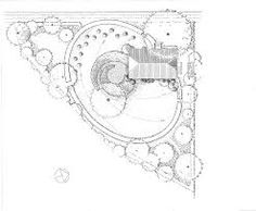 Unusual, huge oval lawn encompasses most of the awkward triangular lot, including the house. Landscape Architecture Drawing, Landscape And Urbanism, Landscape Plans, Landscape Drawings, Garden Landscape Design, Garden Landscaping, Landscaping Design, Architecture Symbols, Plan Sketch