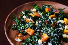 Northern Spy's Kale Salad with roasted squash, almonds, and two kinds of cheese. No massaging necessary!