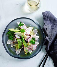 Seared kingfish with radish, avocado and wasabi recipe, Matt Moran, Gourmet Institute :: Gourmet Traveller