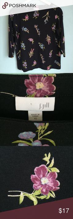NWOT J.Jill FLORAL BOAT-NECK KNIT TOP Very sweet Knit Top with sleeves. Never got the chance to wear it, it's practically new. Check out my other items, bundle them up and give me an offer 🤓.                  3/4 sleeves 56% cotton, 37% modal rayon and 7% spandex knit Machine wash, line dry J. Jill Tops Tees - Long Sleeve