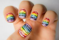 scribbled rainbow nails