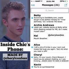 """22.9k Likes, 1,624 Comments - Riverdale Confessions (@cherylconfess) on Instagram: """"Here are Betty's text messages - ❧ which character should I do next?"""""""
