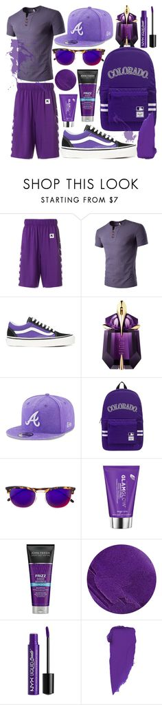 """""""Purple Party 21"""" by modaehestilo ❤ liked on Polyvore featuring Kappa, Vans, Thierry Mugler, New Era, Herschel Supply Co., RetroSuperFuture, GlamGlow, Lipstick Queen and Charlotte Russe"""