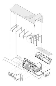 Exploded axonometric diagram of Angular metal roof wraps around a hilltop house by deMx architecture