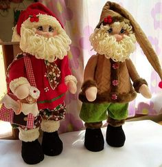 Santa, Teddy Bear, Deco, Toys, Pattern, Christmas, Animals, Christmas Village Display, Fabric Dolls