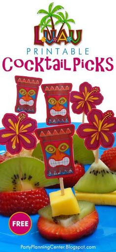FREE Printable Luau Cocktail Picks | The printable template features colorful Hawaiian tiki masks and hibiscus flowers that can be used to make cocktail picks or cupcake toppers     #Luau #LuauAppetizers #PartyFood #HawaiianParty #Cupcakes