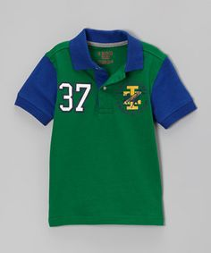 Love this IZOD Green & Blue '37' Polo - Boys by IZOD on #zulily! #zulilyfinds