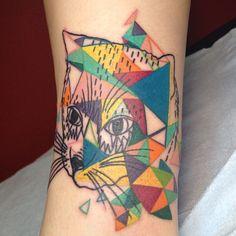 http://tattoo-ideas.us/wp-content/uploads/2013/10/Colourful-Triangle-Cat.jpg Colourful Triangle Cat