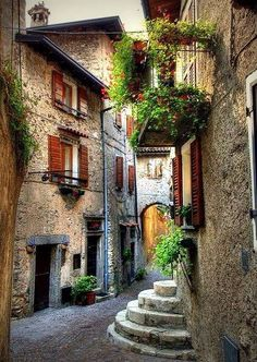 Cobblestone street ~ located in the province of Brescia,Tremosine, Italy