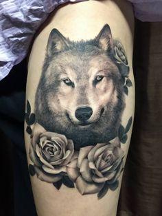 Wolf with Roses Tattoo | WOLF Tats, ROSE Tats, ANIMAL Tats | #Tattoos #WolfTattoo #RoseTattoo