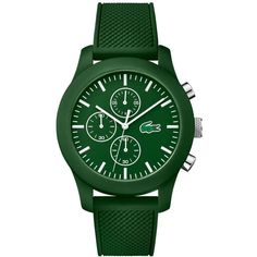 Lacoste Unisex Green Silicone Strap Watch 44mm 2010822 (£94) ❤ liked on Polyvore featuring jewelry, watches, accessories, green, lacoste, green jewelry, lacoste watches, green watches and unisex jewelry