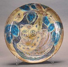 Beatrice Wood, Turquoise White Cat Plate with Leaves