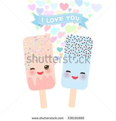 италия I love you Card design with Kawaii mint and strawberry Ice cream, ice lolly with pink cheeks and winking eyes, pastel colors on white background. Vector