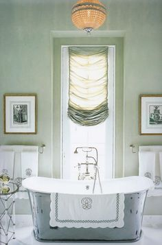 dreamy bathroom - this could be done with a straight bottom in your dressing room but less sheer????