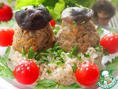 Мясные грибочки на подушке из коричневого риса - кулинарный рецепт