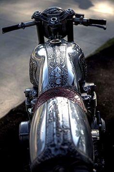 Bushido Honda Cafe Racer CB500 with custom silver cutlery engravings.