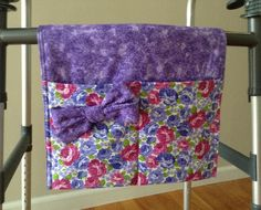 Excited to share the latest addition to my shop: Lilac Rose Petals Walker Bag is Stunning and It's Washable! Diy Bag Organiser, Walker Bags, Sewing Basics, Sewing Tips, Sewing Ideas, Lilac Roses, Fabric Bows, Cotton Fabric, Hook And Loop Tape