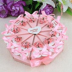 Cake Favor Box With Pink Flowers and Ribbon (Set of Cake Slice Boxes, Hand Crafts For Kids, Paper Ribbon, Paper Cake, Diy Cake, Favor Boxes, 98, Band, Pink Flowers