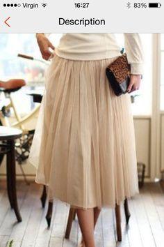 Beige midi tulle skirt www.oliveandlile.com