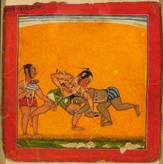 Style: Pahari; Type: Deities and ragas; Title: 'Wrestlers, depicting the musical mode Raga Malava', Basohli, c. 1680