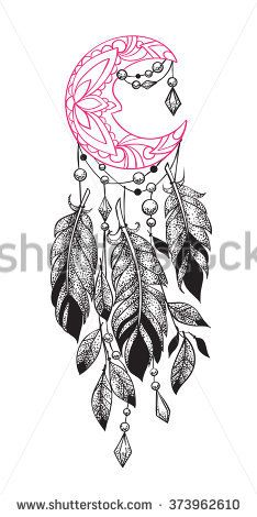 Tattoo Ideas Thigh Sketches Feathers 25 New Ideas Feather Tattoos, Flower Tattoos, Small Tattoos, Cool Tattoos, Moon Sketches, Tattoo Sketches, Tattoo Drawings, Dream Catcher Sketch, Dream Catcher Tattoo