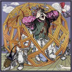 "Gabriele Arruzzo, ""in a golden cage (portrait of a painter as Saint Paul as Saint John as a reversed Sisyphus)"", enamel and acrylic on canvas and wooden frame, 207x207cm, 2015 #gabrielearruzzo #art #painting #platonicsolid #SaintPaul #SaintJohn #Sisyphus #beetle #seagulls #whoreofBabylon"