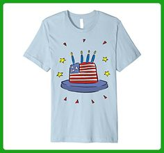 Mens HAPPY BIRTHDAY AMERICA USA Cake Independence Day 4th of July Large Baby Blue - Birthday shirts (*Amazon Partner-Link)