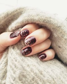 Deep burgundy with chunky gold/pink glitter tips. Perfect transition from winter to #spring. #nailart #manicure #nails