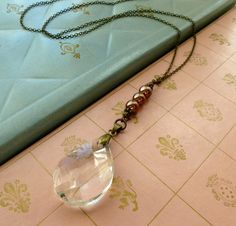 Repurposed Prism Necklace. Upcycled Chandelier by VintageMusings, $34.00