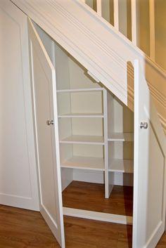 Understairs Storage Door Under Stairs . Understairs Storage Door Under Stairs . Pin On for the Home Staircase Storage, Shelves Under Stairs, Basement Decor, Closet Storage, Stair Shelves, Basement Storage, Remodel Bedroom, Diy Storage Shelves, Basement Stairs