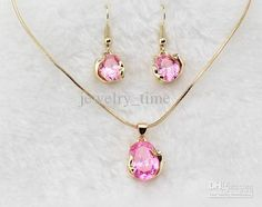 Wholesale Pink Jewelry - Buy 18KGP Simulated Diamond Dolphin Design Pink Jewelry Sets Cubic Jewelry F01070073, $5.75 | DHgate