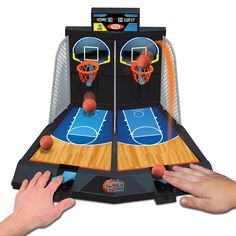 Electronic Super Slam Basketball and over 7,500 other quality toys at Fat Brain Toys. Using the two spring-loaded catapults, finger-flicking B-ball pros get to go head to head to see who's the quickest flicker of them all. You have one minute to rack up as many points as physically possible!